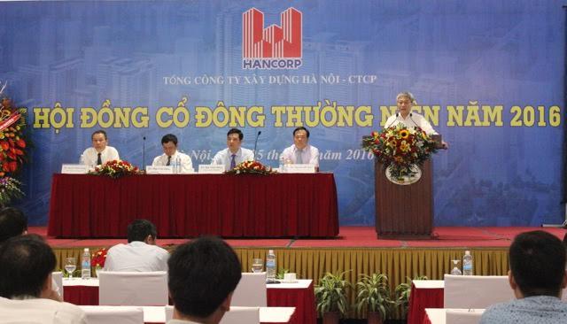 Thứ trưởng Bộ Xây dựng Bùi Phạm Khánh phát biểu tại Đại hội cổ đông thường niên Hancorp 2016