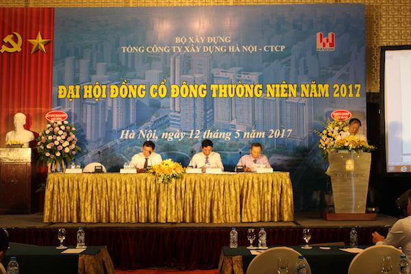 Toàn cảnh Đại hội đồng Cổ đông thường niên 2017 của Tổng công ty Xây dựng Hà Nội – CTCP (Hancorp) ngày 12/5/2017. (1)