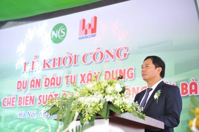 Ông Đậu Văn Diện - Tổng giám đốc Tổng công ty Xây dựng Hà Nộiphát biểu tại Lễ khởi công