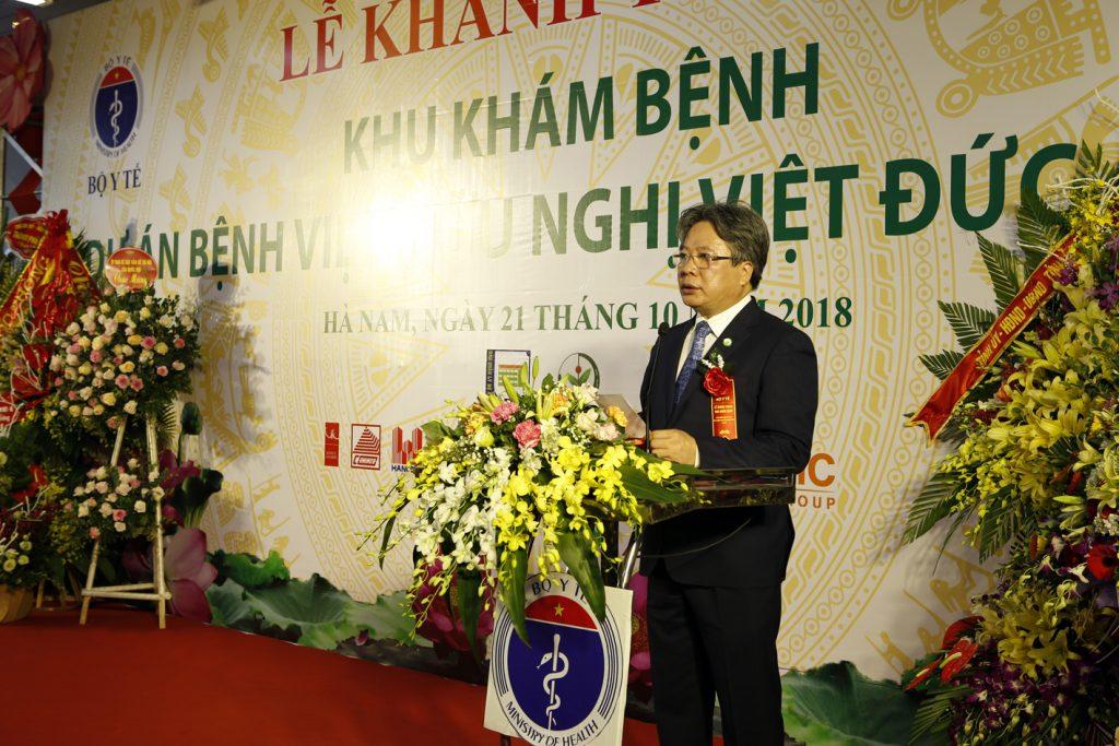 GS.TS Trần Bình Giang – Giám đốc Bệnh viện Hữu nghị Việt Đức phát biểu tại lễ khánh thành