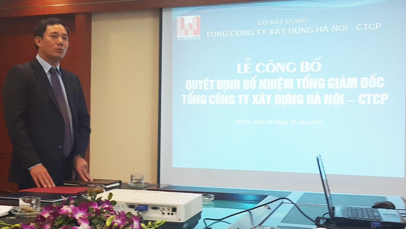 Ông Đậu Văn Diện - Tân Tổng giám đốc Tổng công ty phát biểu tại buổi lễ