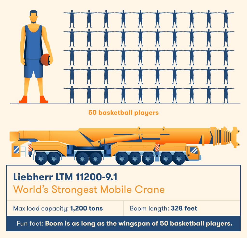Cánh tay đòn của cần trục Liebherr rất lớn - dài bằng sải cánh của năm mươi cầu thủ bóng rổ