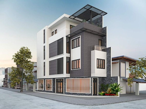 Nhà ở kết hợp văn phòng cho thuê kiến trúc hiện đại